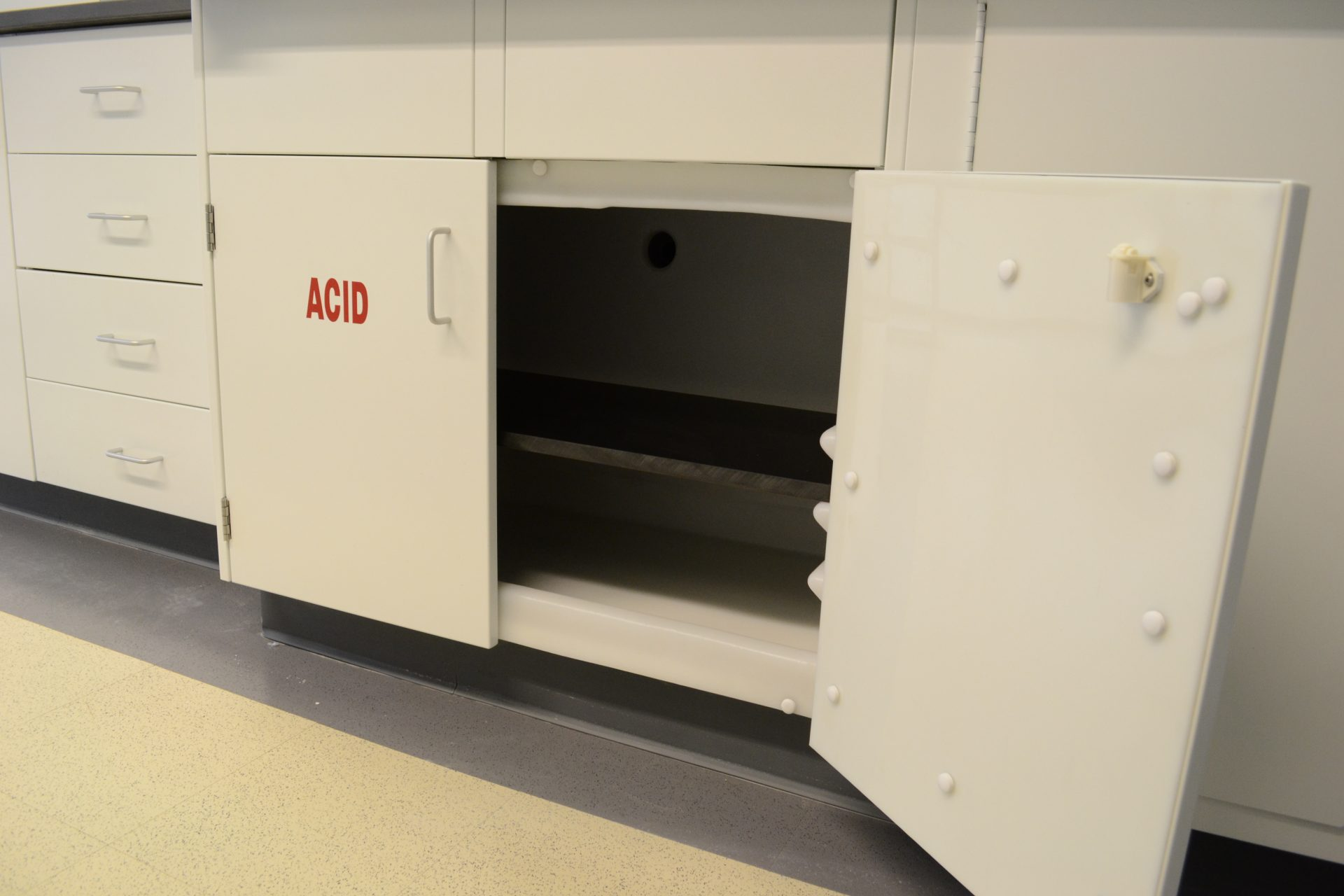specialty laboratory white acid cabinet